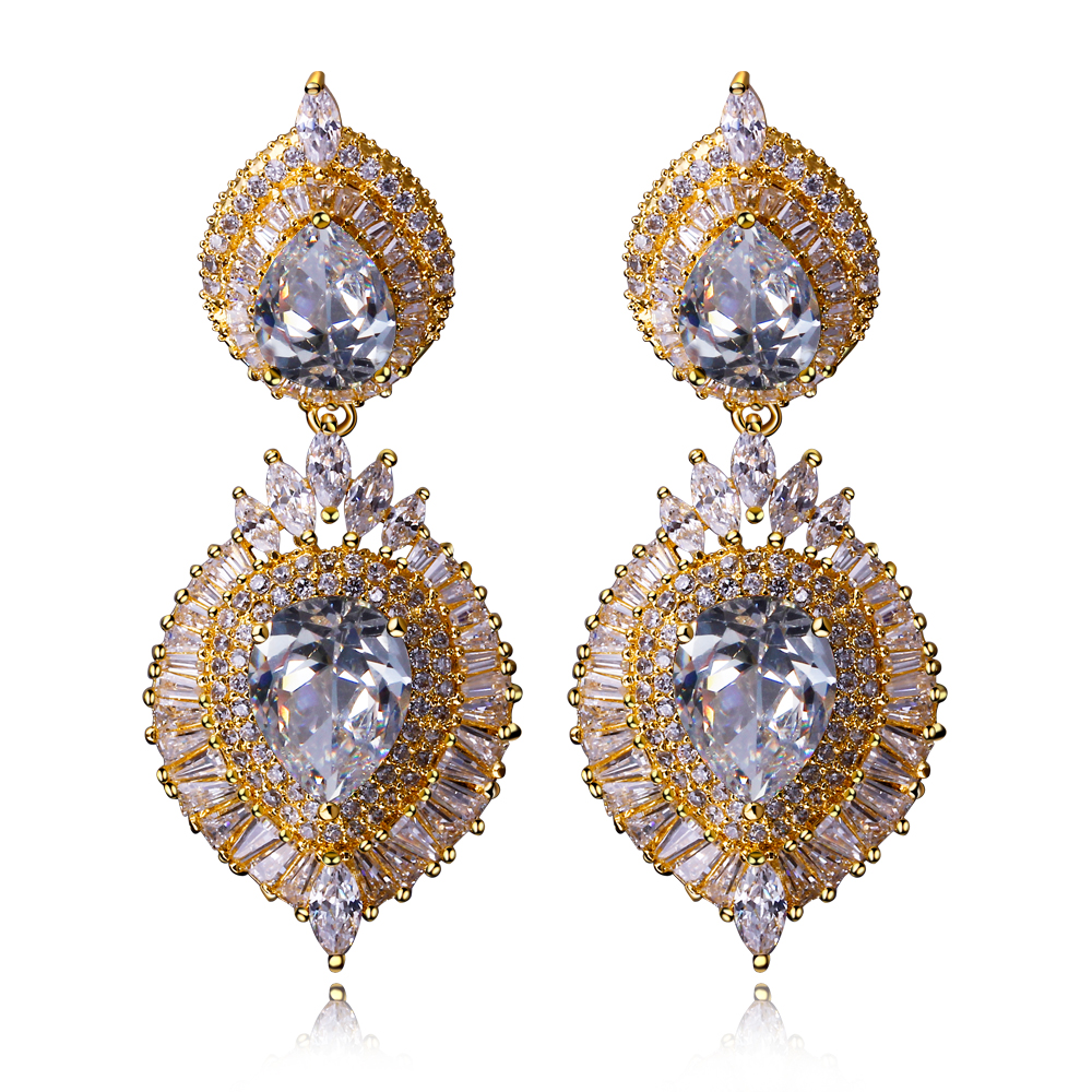 New Big Wedding drop Earrings Setting with AAA Cubic Zirconia Color Earrings Allergy Free Lead Free