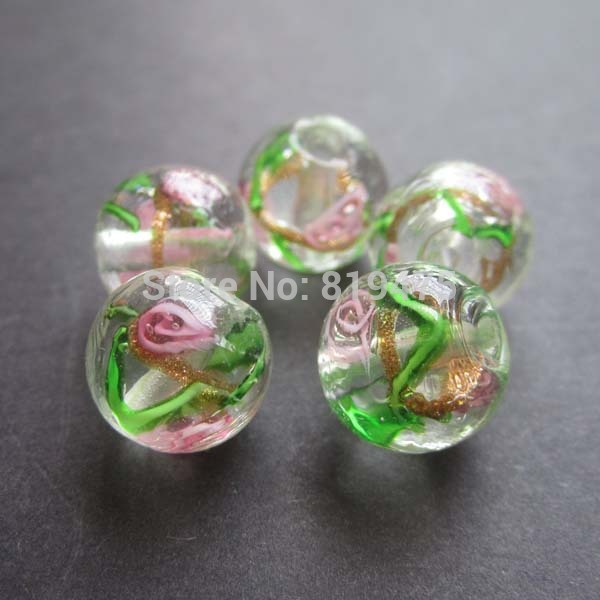 20Pieces/Lot 12mm Lampwork Glass Beads Flower Beads Clear color jewelry making
