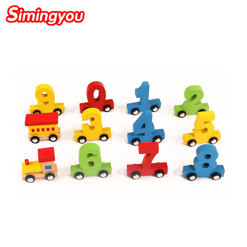 Simingyou Puzzle Children Building Blocks Digital Trainjeux En Bois Educatif Bois D10-E15 Drop Shipping