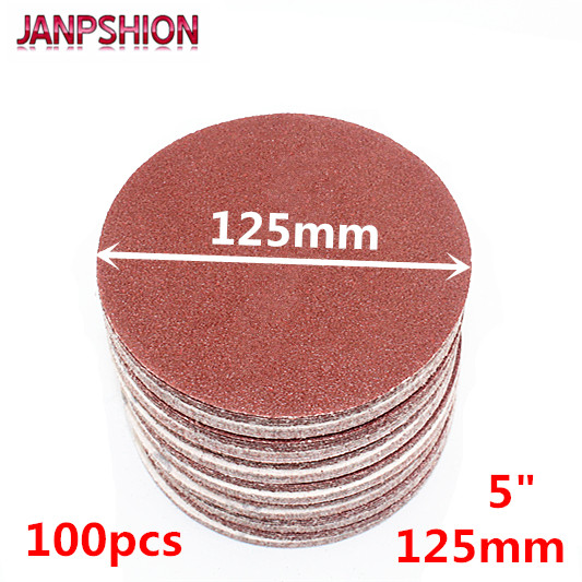 JANPSHION 100 adet 5 125mm Peel & Çubuk Zımpara Grit Zımpara Zımpara Disk 60 80 120 180 240 320 400 600 800 1000 1200