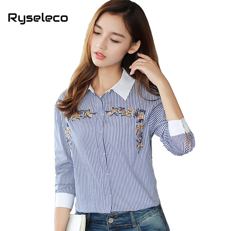 Ryseleco 2018 New Arrival Office Lady Long Sleeve Strip Blouses Floral Embroidery Slit Irregular High Low Hem Casual Shirt Blusa